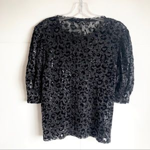 ZARA Black Sequin Glitter Leopard Sheer Top Size M